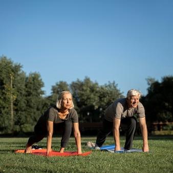 Vue de face du couple de personnes âgées faisant du yoga à l'extérieur