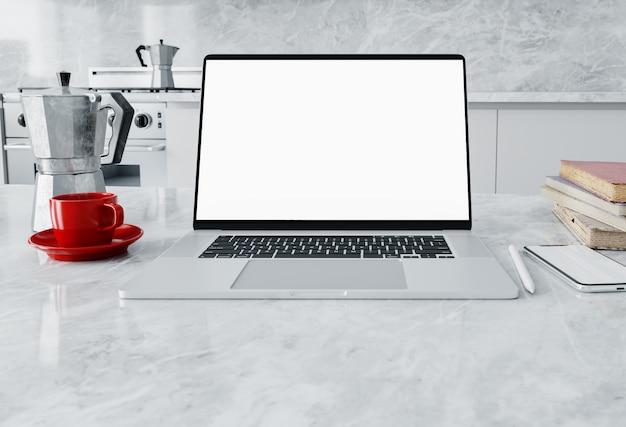 Vue de face du parc de travail avec écran d'ordinateur portable vierge dans le bureau à domicile