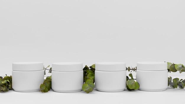 Vue de face du produit de crème de beauté avec espace copie