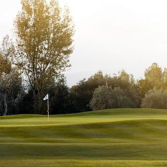 Vue de face du terrain de golf avec herbe et drapeau