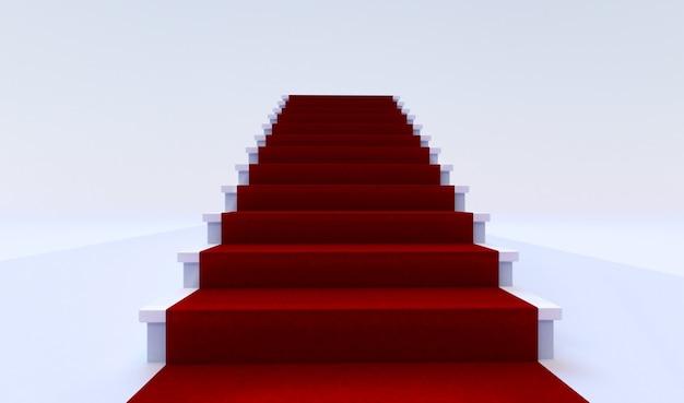 Vue de face d'un escalier blanc avec un tapis rouge.