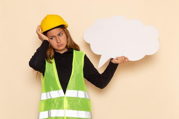Vue de face femme constructeur en casque jaune tenant une pancarte blanche en pensant stressant sur blanc femme de bureau