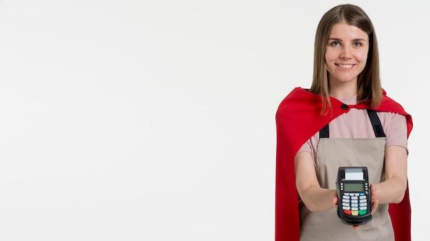 Vue de face femme avec copie-espace