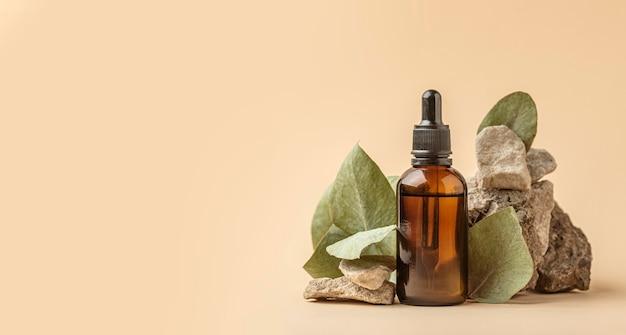 Vue de face de l'huile de plante verte avec espace copie