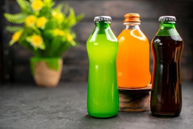 Vue de face des jus de fruits colorés et des plantes en pot de limonades