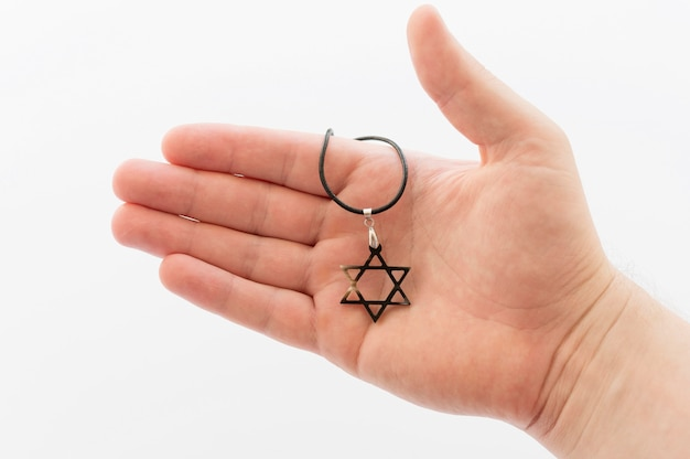 Vue de face de la main tenant le pendentif étoile de david