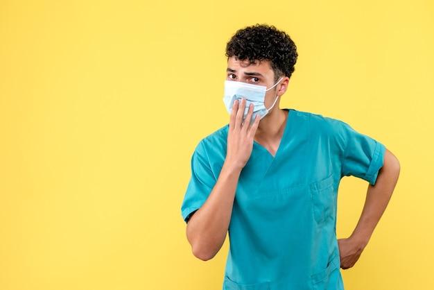 Vue de face médecin le médecin en masque pense à ses patients