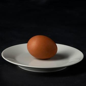 Vue de face oeuf brun sur assiette