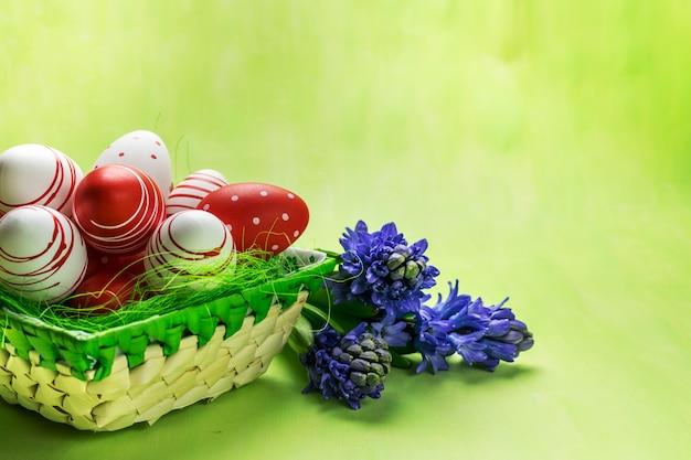 Vue de face d'un oeufs de pâques rouges et blancs dans le panier et la jacinthe violette sur fond vert.
