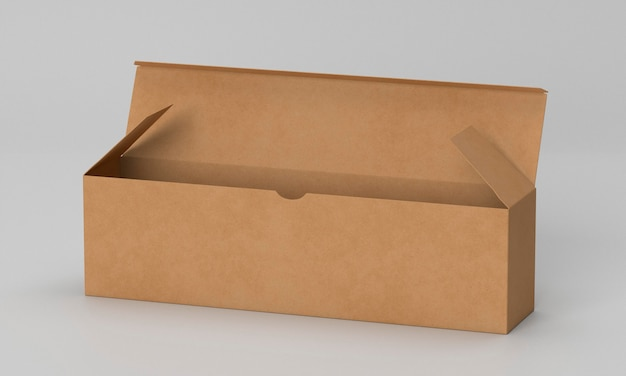 Vue de face ouverte longue boîte en carton