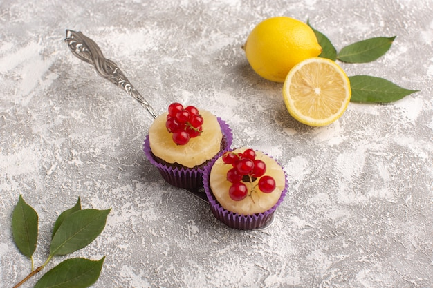Vue de face petits gâteaux au chocolat brownies aux canneberges et citron sur gris bureau gâteau biscuit pâte sucrée