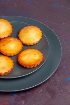 Vue de face de petits gâteaux délicieux à l'intérieur de la plaque sur fond sombre gâteau biscuit à tarte biscuits au thé sucré sucre