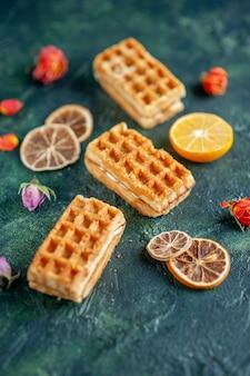Vue de face petits gâteaux sur gâteau à tarte bleu foncé biscuit au thé dessert couleur biscuit