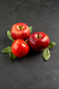 Vue de face pommes rouges fraîches fruits moelleux sur table sombre fruits rouges arbre mûr frais