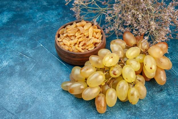 Vue de face des raisins frais sur la photo de couleur bleue jus moelleux de vin de fruits