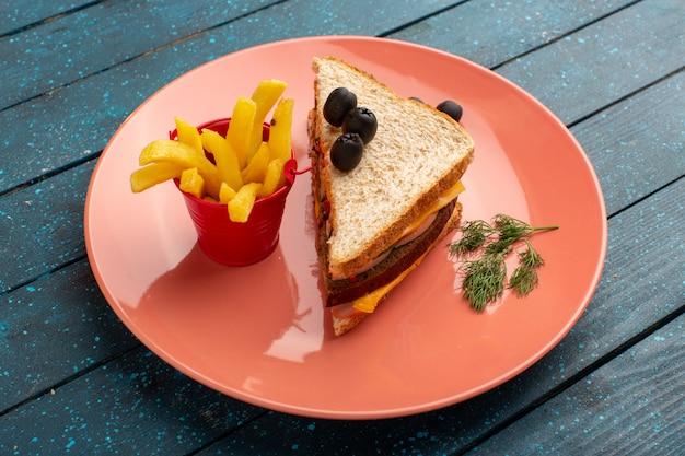Vue de face savoureux sandwich avec tomates jambon olive à l'intérieur de la plaque rose avec des frites sur bois bleu