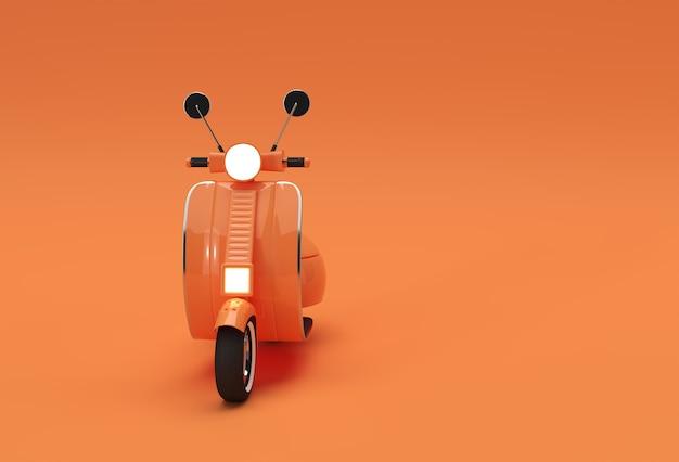 Vue de face de scooter classique de rendu 3d sur un fond orange.