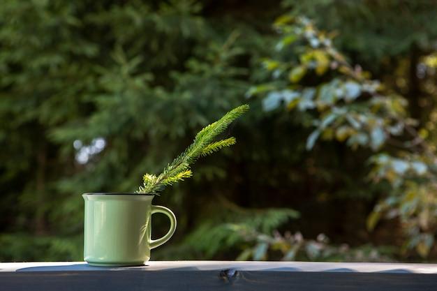 Vue de face, tasse, café, espace copie