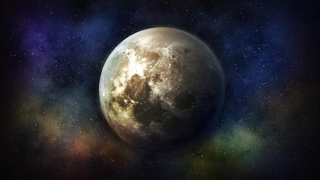 Vue fantastique de la lune dans l'espace extra-atmosphérique coloré