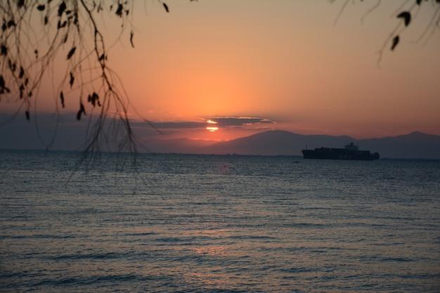 Vue fascinante du navire dans l'océan pendant le coucher du soleil avec des branches d'arbres au premier plan