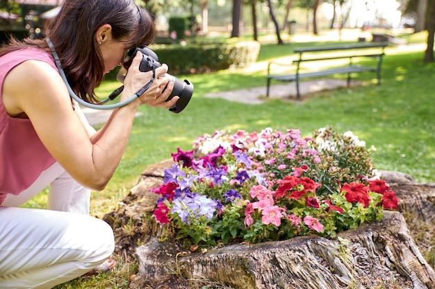 Vue, femme, photographier
