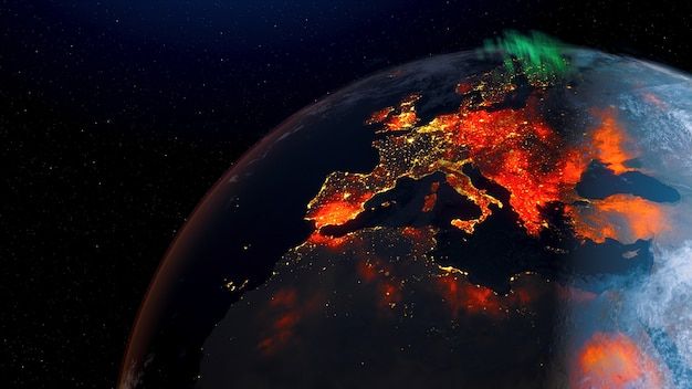Vue de feu de forêt de la terre du jour de la rotation de l'espace à l'horizon de nuit.