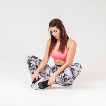 Vue frontale, de, athlétique, femme, reposer