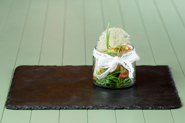 Vue frontale, de, délicieux, nourriture, sur, table bois