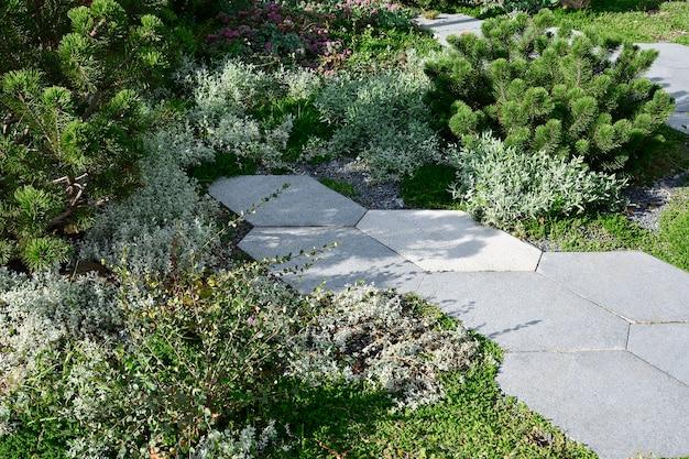 Vue de la glissière alpine et des dalles de la chaussée revêtues d'un motif géométrique.