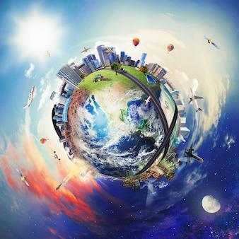 Vue globale du monde des affaires. monde fourni par la nasa