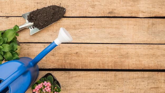 Vue grand angle de l'arrosoir; plantes en pot de fleurs et pelle à la main avec la terre sur fond en bois