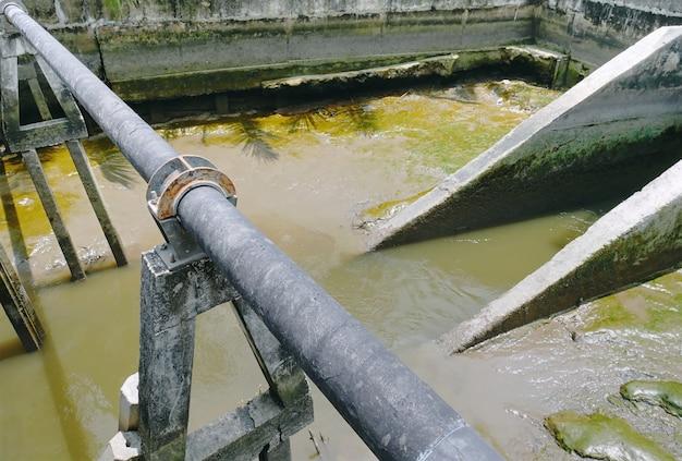 Vue grand angle de la canalisation extérieure avec supports de tuyaux