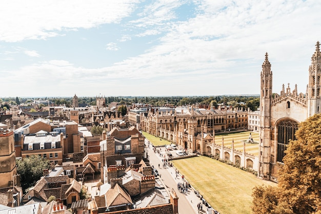 Vue grand angle de la ville de cambridge, royaume-uni