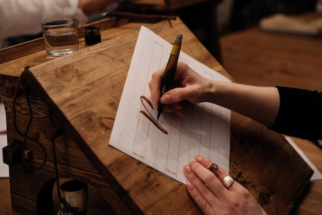 Vue sur une grande feuille de papier blanc avec calligraphie de mots