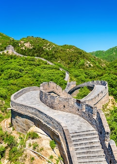 Vue de la grande muraille à badaling - pékin, chine