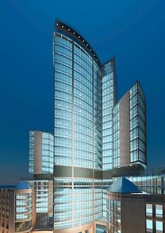 Vue sur gratte-ciel moderne. construire un hôtel moderne pendant la nuit. rendu 3d.