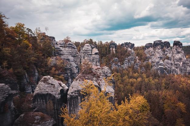 Vue, de, grès, rochers, dans, suisse saxon, parc national, allemagne