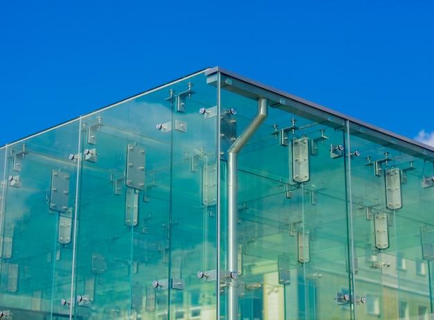 Vue, gros plan, verre, coin, mur, bâtiment