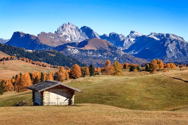 Vue sur le groupe odle - la chaîne de montagnes des dolomites de l'alpe di siusi, dans la province du tyrol du sud. italie