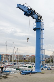 Vue des grues portuaires industrielles dans le port maritime