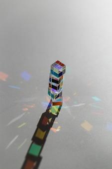 Vue haute pile de prismes et de rayons