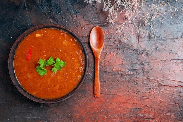 Vue horizontale de la soupe aux tomates classique dans un bol brun et cuillère sur table de couleurs mélangées