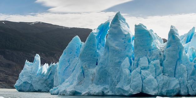 Vue, de, iceberg, dans, lac, glacier gris, gris, lac, torres del paine, parc national, patagonia, chili