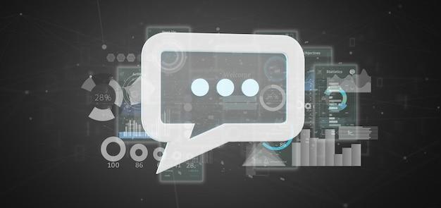 Vue d'une icône de message avec des données