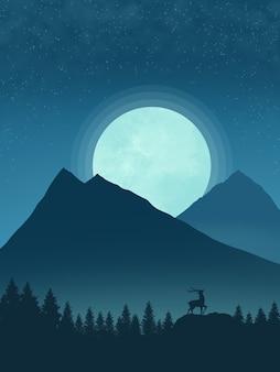 Vue de l'illustration de la montagne bleu nuit