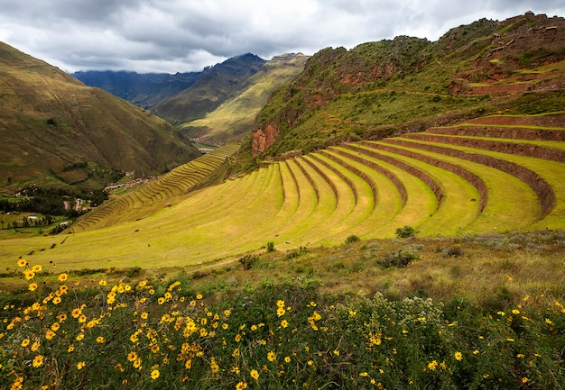Vue imprenable sur les anciennes terrasses incas des montagnes pisac et andes dans la vallée sacrée de cusco, pérou