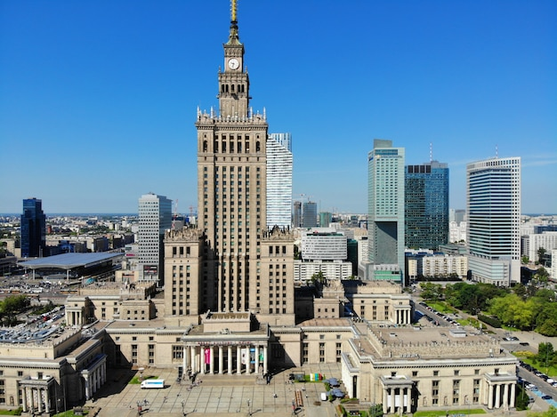 Vue imprenable d'en haut. la capitale de la pologne. varsovie.