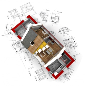 Vue isométrique 3d de la maison d'habitation sur dessin d'architecte