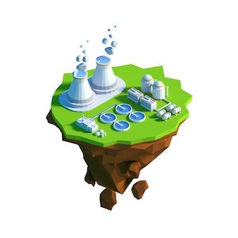 Vue isométrique basse poly centrale nucléaire