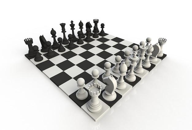 Vue isométrique des figures d'échecs sur le plateau de jeu sur fond blanc, rendu 3d